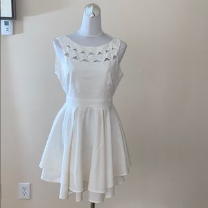 L'atiste white flare open back minidress